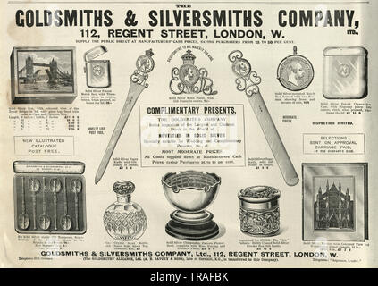 Edwardian newspaper advert for the Goldsmiths and Silversmiths Company, Regent Street, 1902 - Stock Image