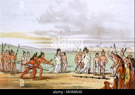 Mandan game of Tchung-Kee       Date: circa 1830 - Stock Image