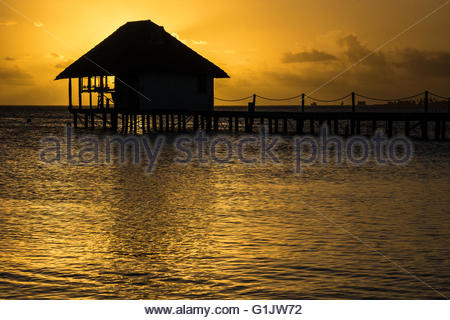 sunset over the Pearl Havaiki in Fakarava (French Polynesia) - Stock Image