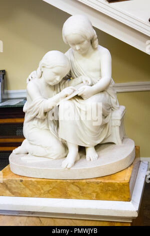 Liverpool Mossley Hill Sudley House built 1821 art collection marble statue Dora & Margaret Naylor reads Lords Prayer by Benjamin E Spence 1852 - Stock Image