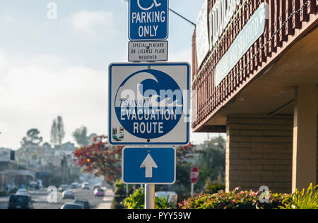 Sign for the Tsunami evacuation route, on Shelter Island, San Diego, California, USA - Stock Image