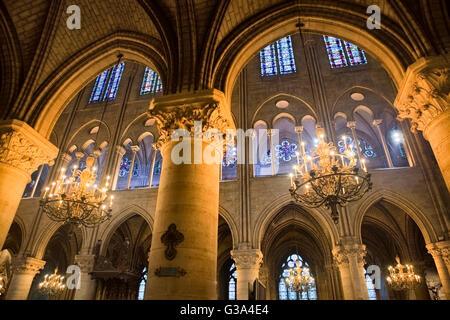 Inside Notre Dame de Paris cathedral - Stock Image