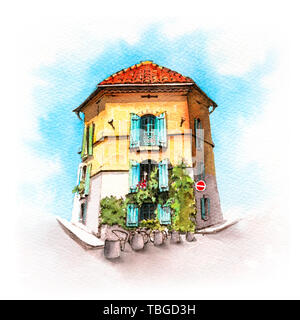 Provancal house, Arles, France - Stock Image