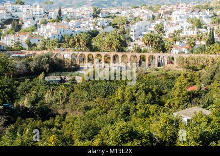 Old brick built aqueduct near Nerja, Malaga, Spain - Stock Image