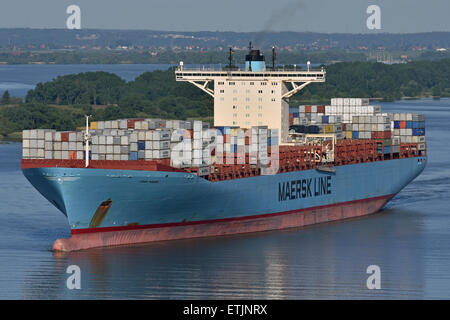 Emma Maersk inbound for Hamburg - Stock Image