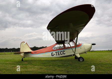 an Aeronca 7AC Champion parked on the grass - Stock Image