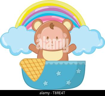 bear costume in a cradle with a blanked decorated stars with clouds and rainbow behind vector illustration graphic design - Stock Image
