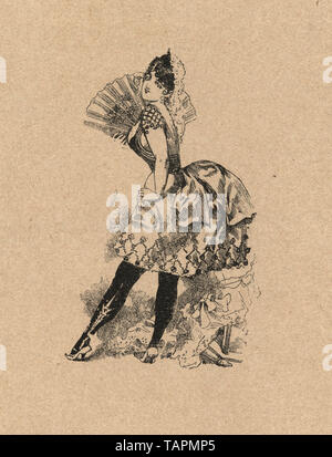 coquettish young woman in short skirt holding a fan, german 19th Century - Stock Image