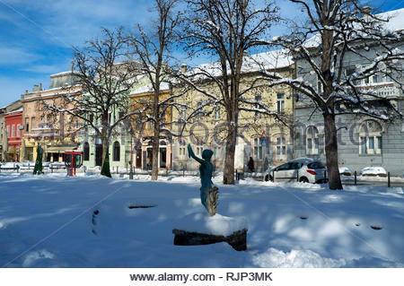 The Danube Park with the sculpture of Nimfa (girl with the horn of plenty), in the city of Novi Sad, Vojvodina, Serbia. - Stock Image
