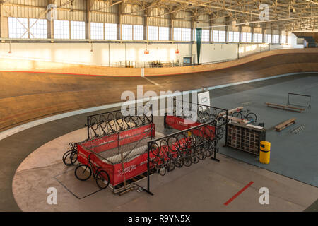The velodrome cycling track at Calshot Activities Centre, Hampshire, UK - Stock Image