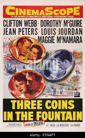 THREE COINS IN THE FOUNTAIN, top left: Clifton Webb, Dorothy McGuire, right: Maggie McNamara, Louis Jourdan, bottom: - Stock Image
