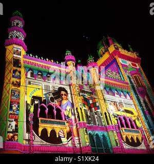 Light projection on The Forum Theatre for White Night in Melbourne - Stock Image