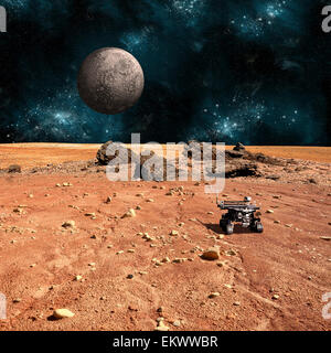 A robotic rover explores the surface of a rocky and barren alien world. A large cratered moon rises over the airless - Stock Image