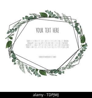 Geometric botanical vector frame. Floral poster - Stock Image
