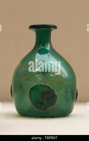 Blown-Cutting-Glass Bottle(Perfume Bottle) 224-651 AD, Sasanian Period. Niavol, Gilan Province, Iran. Iran National Museum - Stock Image