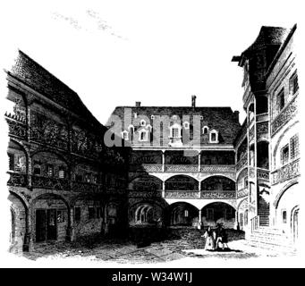 Courtyard of a patrician house in Nuremberg, ,  (cultural history book, 1875) - Stock Image