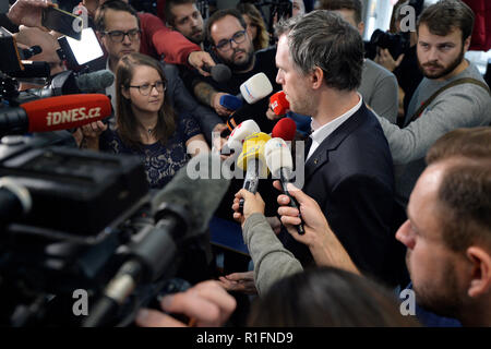 Prague, Czech Republic. 12th Nov, 2018. Future Prague mayor Zdenek Hrib (Pirates) does not agree with PM Andrej Babis's (ANO) idea to build a new government district in the capital, Hrib told CTK after signing the Prague coalition agreement on November 12, 2018, in Prague, Czech Republic. On the photo Hrib speaks to journalists. Credit: Michaela Rihova/CTK Photo/Alamy Live News - Stock Image