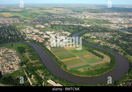 aerial,University of Manitoba, Red River Winnipeg, Manitoba - Stock Image