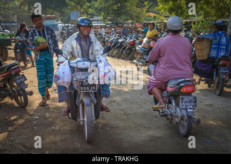 Scooter traffic in Bagan - Stock Image