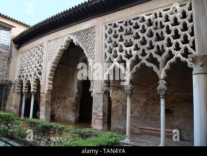 Spain. Seville. Alcazar of Seville. Patio del Yeso, 12th century. Part of old Almohad palace. South portico. - Stock Image