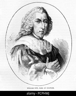 Portrait of William Pitt, Earl of Chatham; Illustration from Cassell's History of England, King's Edition Part 33 - Stock Image
