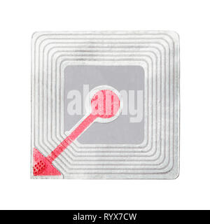 Square Security Tag Isolated on White Background. - Stock Image