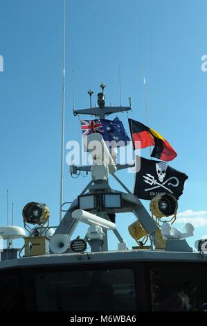 Electronics equipment atop the bridge of Sea Shepherd's 'Ocean Warrior', flying the Sea Shepherd, Australian, - Stock Image