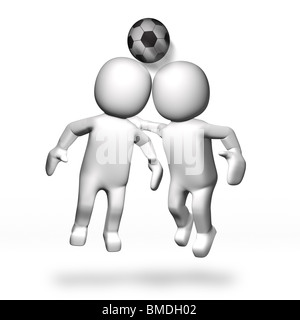3D Two footballers heading ball - Stock Image