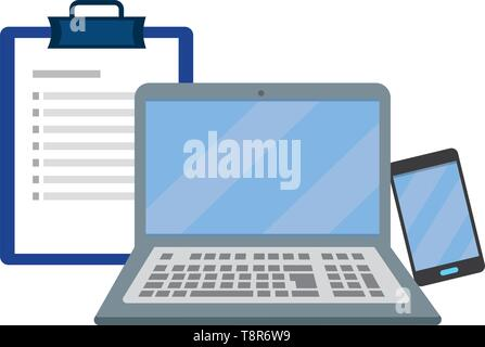 laptop with checklist and cellphone vector illustration graphic design - Stock Image