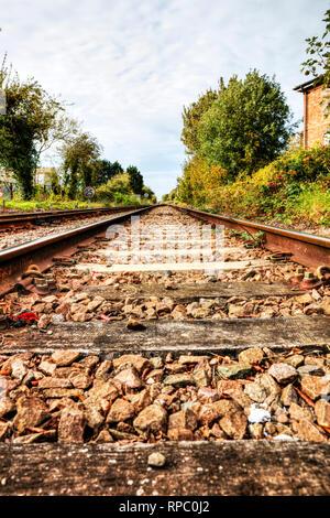 Railway line, rail line, railway sleepers, UK rail, train track, track, train tracks, train line, track, rail, railway, lines, tracks, sleeper, UK - Stock Image