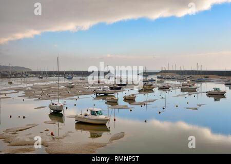 Marina at low tide, morning lighting, Jard Sur Mer, Vendee, France. - Stock Image