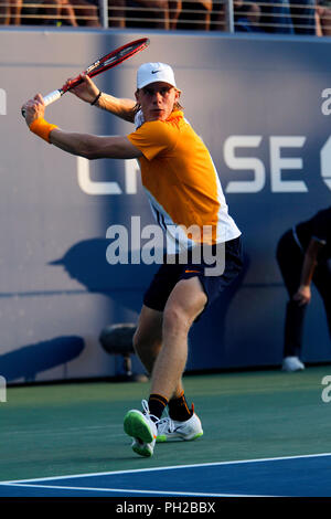 New York, United States. 29th Aug, 2018. Flushing Meadows, New York - August 29, 2018: US Open Tennis: Denis Shapovalov of Canada during his second round match to Andreas Seppi of Italy at the US Open in Flushing Meadows, New York. Shapovalov won the match in five sets to advance to the third round. Credit: Adam Stoltman/Alamy Live News - Stock Image