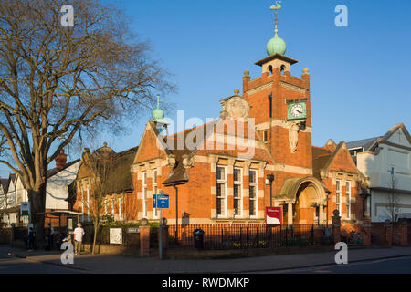 The Arts and Crafts style  Public Library in Caversham, Berkshire, built in 1907, funded by Andrew Carnegie the Scottish American philanthropist. - Stock Image