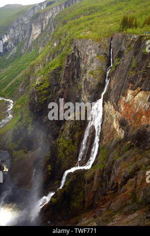 bjoreio river fills the voringfossen in the green norway, voringfossen waterfalls in hardanger eidfjord view from the top a big tourist attraction in - Stock Image