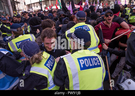 London, UK. 13th October 2018. Demonstration against the DFLA. A coalition of groups marched in London to oppose the far right Democratic Football Lads Alliance (DFLA). The DFLA were also marching on the same day. There was an extensive police presence. Credit: Stephen Bell/Alamy Live News. - Stock Image