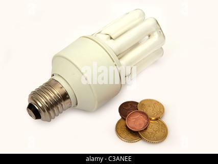 Power saving up luminescent lamp isolated on white - Stock Image