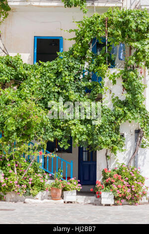 Typical House Facade Paros Cyclades Islands Greece - Stock Image