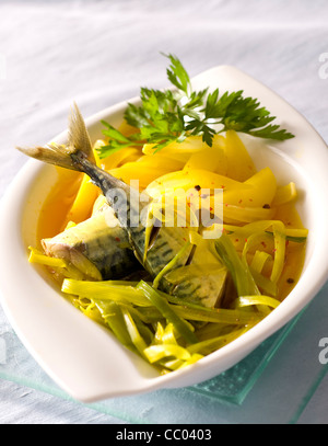 Mackerels and Vegetables - Stock Image