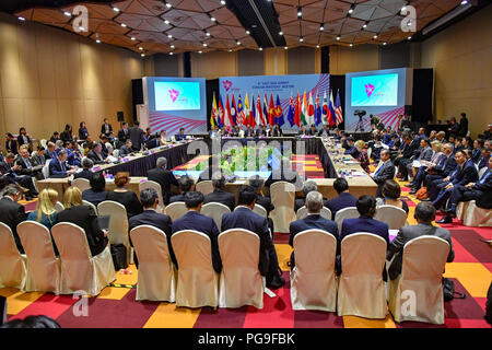 Secretary of State Michael R. Pompeo attends the East Asia Summit (EAS) Foreign Ministers Meeting in Singapore, Singapore, August 4, 2018. - Stock Image