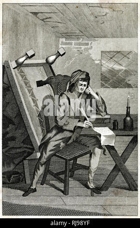 A 'distresst' poet writes the verses which will, he hopes, bring him enough money to buy new clothes, food and drink, and enable him to move to somewhat better accommodation. - Stock Image