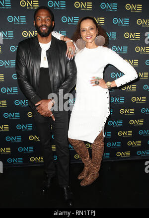 Los Angeles, California, USA. 15 February 2019 - Los Angeles, California - Noelle Bellinghausen, Tobias Truvillon. ''Loved To Death'' Los Angeles Screening during the Pan Africa Film Festival held at the Baldwin Hills Crenshaw Cinemark Theater. Photo Credit: Faye SadouAdMedia Credit: AdMedia/ZUMA Wire/Alamy Live News - Stock Image