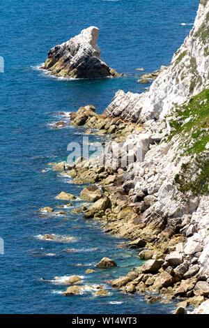 chalk,cliffs,coast,sea,erosion,Tennyson Down,The Needles,Freshwater bay, Isle of Wight,England, - Stock Image
