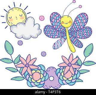 beautiful butterfly with floral decoration vector illustration design - Stock Image