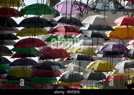 Umbrellas art installation over the street in Old San Juan, Puerto Rico - Stock Image