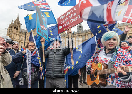 London, UK. 15th January 2019. Supporters gather around EU Supergirl Madeleina Kay (Alba White Wolf) as Yellow-jacketed protesters try to shout her down as he sings in praise of Europe. Groups against leaving the EU, including SODEM, Movement for Justice and In Limbo and Brexiteers Leave Means Leave and others protest opposite Parliament as Theresa May's Brexit deal was being debated. Credit: Peter Marshall/Alamy Live News - Stock Image