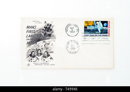 Commemorative Apollo 11 moon landing stamp from 1969 - Stock Image