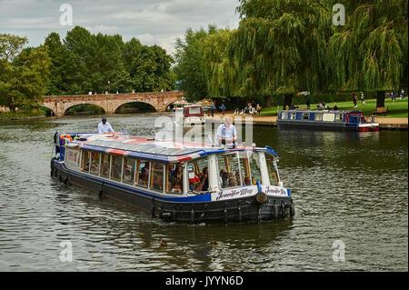 Tourist pleasure boats on the River Avon in Stratford upon Avon, Warwickshire - Stock Image