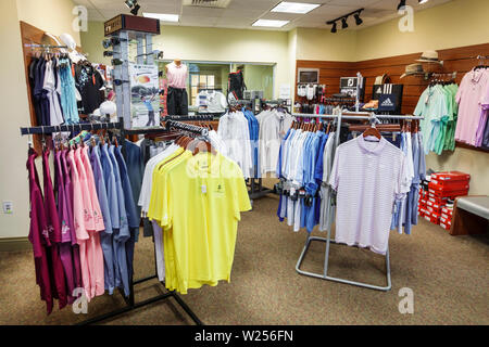 Miami Beach Florida Normandy Shores Golf Course Pro Shop shopping polo shirts display - Stock Image