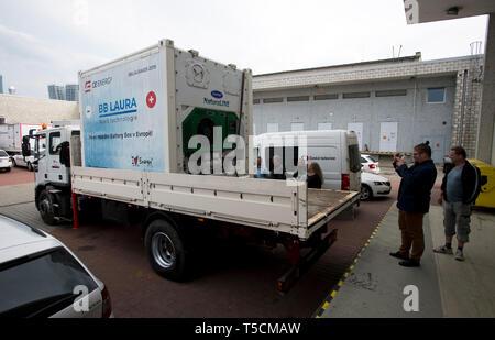 Prague, Czech Republic. 23rd Apr, 2019. Presentation of CE.Energy Czech's mobile high-capacity battery Laura (pictured) was held in Prague, Czech Republic, on April 23, 2019. Credit: Katerina Sulova/CTK Photo/Alamy Live News - Stock Image