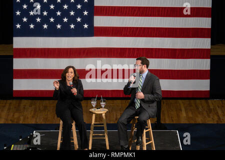 North Charleston, United States. 15th Feb, 2019. Senator Kamala Harris address a town hall meeting during her campaign for the Democratic presidential nomination as Brady Quirk-Garvan, Chair of the Charleston County Democratic Party looks on February 15, 2019 in North Charleston, South Carolina. South Carolina is the first southern democratic primary for the presidential race. Credit: Planetpix/Alamy Live News - Stock Image
